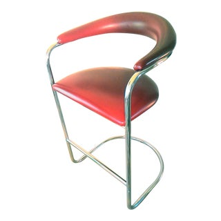 Thonet Mid-Century Modern Cranberry Red Bar Stool