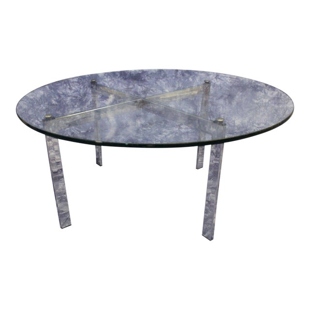 Barcelona Mid-Century Modern Round Glass Top Coffee Table - Image 1 of 4
