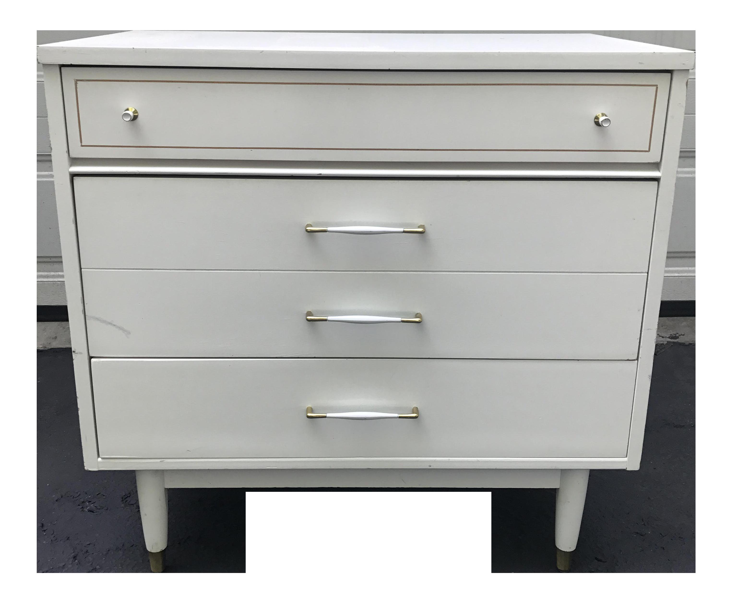 midcentury modern white nightstand