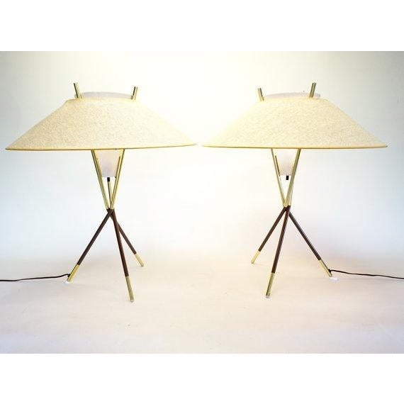 Gerald Thurston Lightolier Tripod Lamps - A Pair - Image 6 of 6