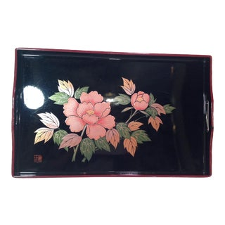 Mid-Century Modern Japanese Lacquer Tray With Floral Design