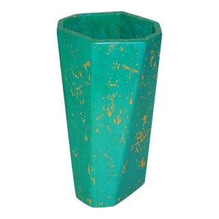 Handmade Turquoise Octagonal Wood Vessel