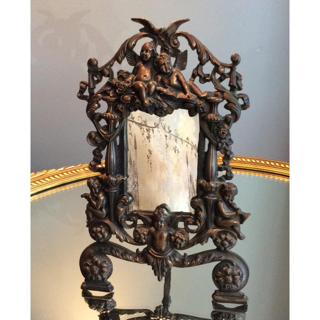 Antique Cast Iron Cherub Mirror - Image 11 of 11
