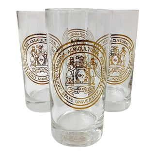 Vintage North Carolina State University Gold Foil Cocktail Glasses - Set of 4