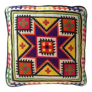 Mid-Century Geometric Needlepoint Pillow