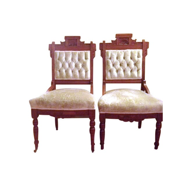 Image of Eastlake Style Victorian Dining Chairs - A Pair
