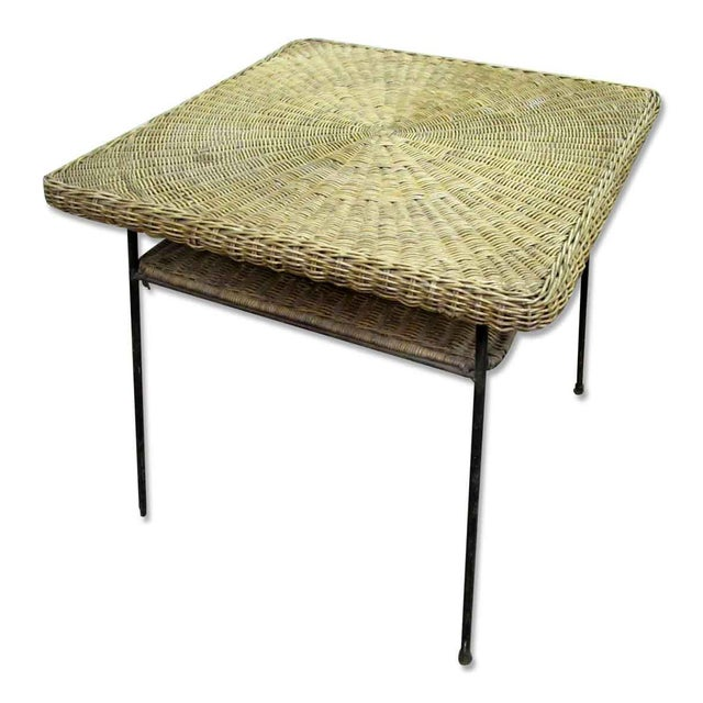 Antique Wicker Desk With Metal Legs - Image 3 of 8 - Antique Wicker Desk With Metal Legs Chairish