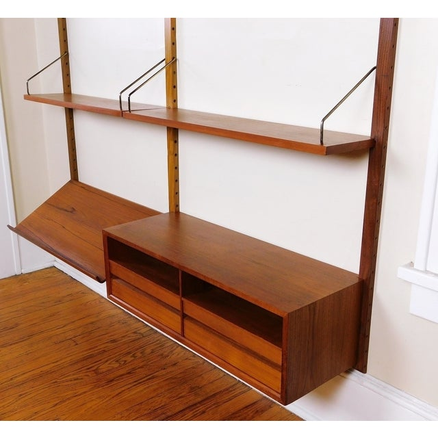 Danish Modern Teak Floating Adjustable Desk Wall Unit Bookcase by Carlo Jensen for Hundevad & Co - Image 7 of 9