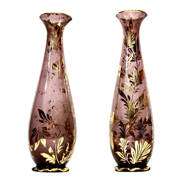 Monumental Murano Mid-Century Purple Vases With Gilt Foliate Design - a Pair - Image 1 of 4