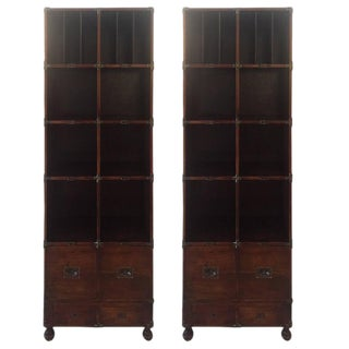 Theodore Alexander Campaign Style Leather Wrapped Bookshelves - A Pair