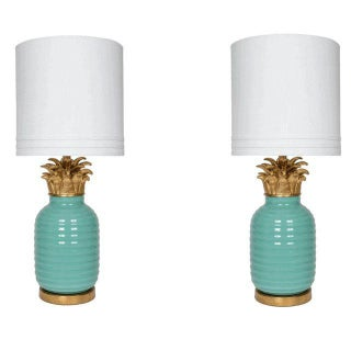 Teal Hollywood Regency Pineapple Lamps - A Pair