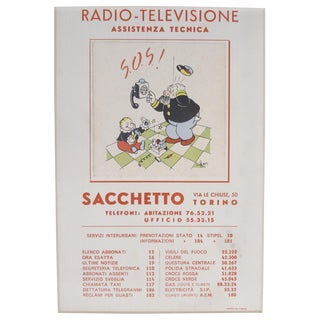 1930s Italian Art Deco Matted Advertisement, Radio Televisione