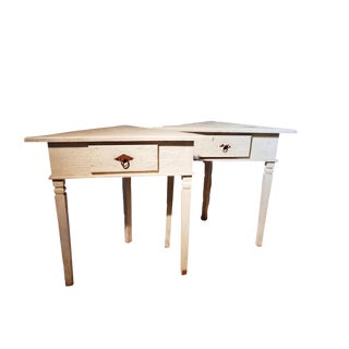 Country Rose Wood Corner Tables - a Pair