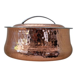 Hammered Copper Lidded Casserole Serving Dish
