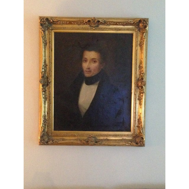 1800s Oil Portrait Painting With Gold Frame - Image 5 of 8