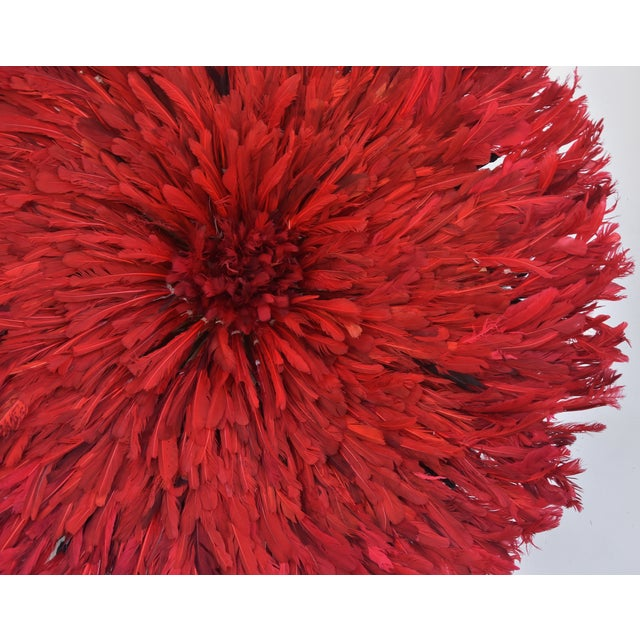 Large 33 Quot Bold Red African Feather Juju Hat Wall Hanging