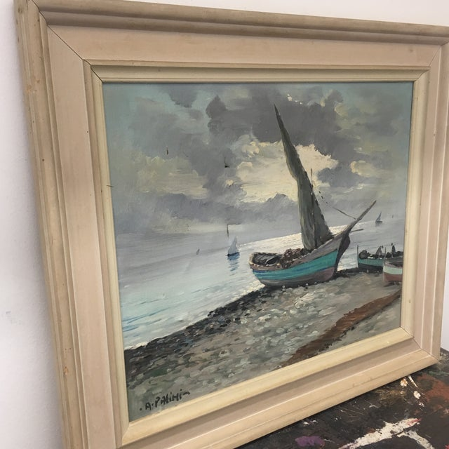 Vintage Nautical Oil Seascape - Image 3 of 11