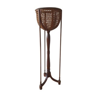 Italian Cane and Walnut Fern Plant Stand