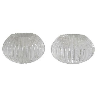 Ridged Glass Votives - Pair