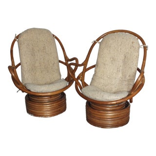 Vintage Bamboo Rattan Swivel Rocking Chair - a Pair