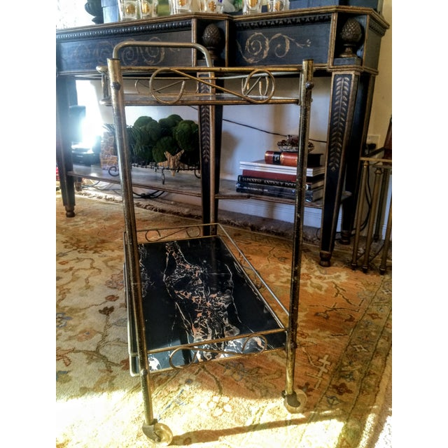 Mid-Century Modern Brass & Marble Rolling Bar Cart - Image 11 of 11