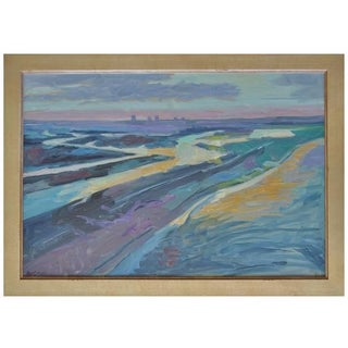 Vintage Ray Cuevas Beach & Bay Sunset Painting