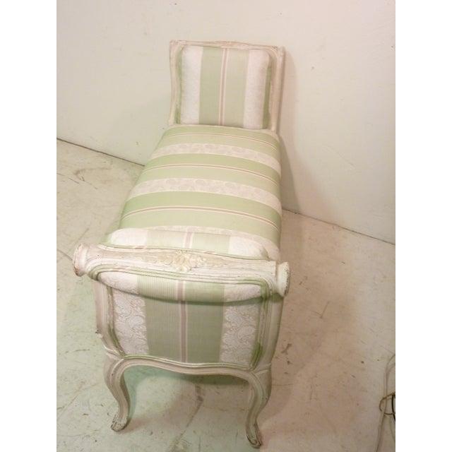Image of French Whitewashed & Upholstered Window Bench