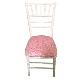 White Bamboo Chairs With Pink Leopard Fabric
