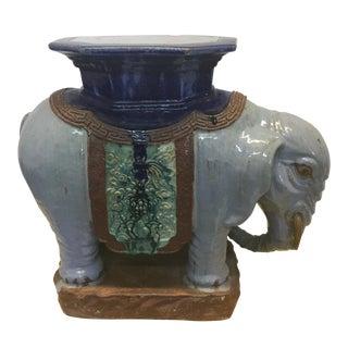 Vintage Glazed Porcelain Elephant Side Table