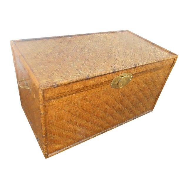 Extra Large Bamboo Herringbone Woven Wicker Trunk Or Coffee Table Chairish