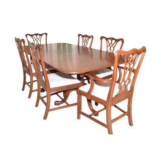 Henkel Harris Queen Anne Dining Table with Chippendale Chairs - Set of 8