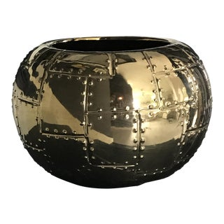 Brutalist Rivet Style Gold Ceramic Planter