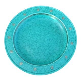 "Swedish Gustavsberg Argenta Green Ceramic Bowl or Dish With Silver Overlay Symbolic-Symbols 9"""