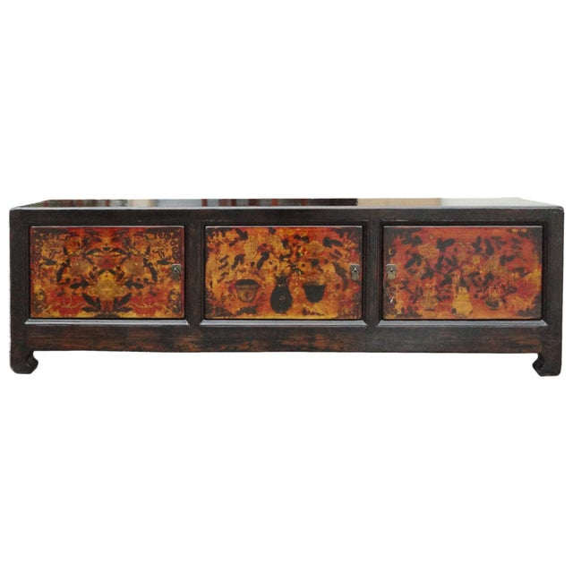 Chinese Vintage Low Graphic Tv Console Cabinet - Image 1 of 6