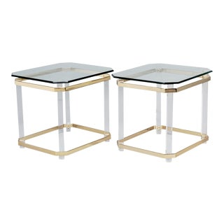 Mid-Century Lucite Brass and Glass Side Tables - A Pair