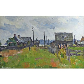 Russian Coastal Village Painting