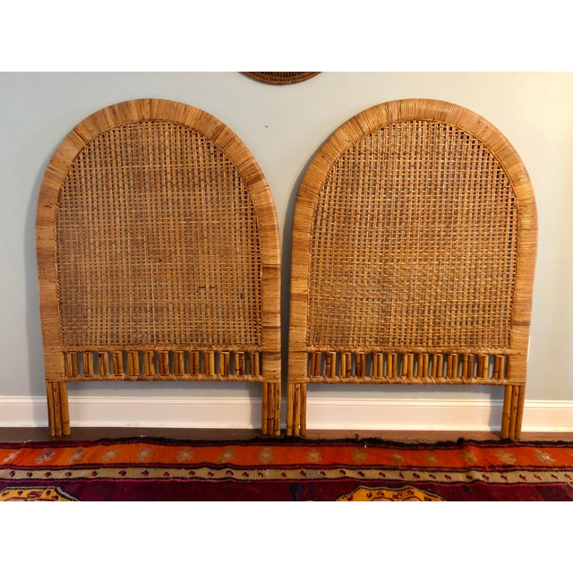 Vintage Mid-Century Arched Cane Rattan Twin Headboards - a Pair - Image 2 of 9