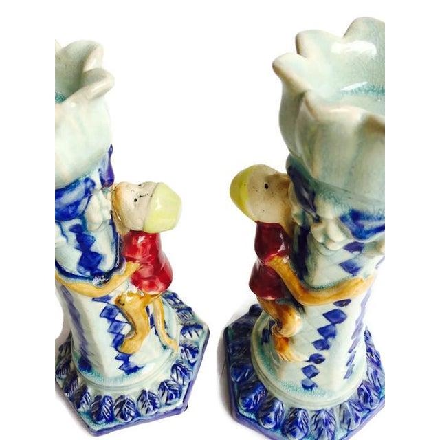 Vintage Ceramic Monkey Votive Candlesticks- A Pair - Image 5 of 6