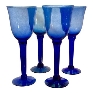 Vintage Cobalt Stemmed Wine Goblets - Set of 4