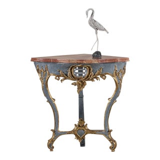 Antique Austrian Painted Gilded Corner Console Table circa 1750