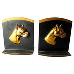 Image of Vintage Brass and Iron Boxer Bookends - A Pair