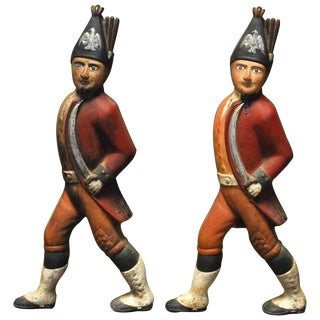 Iron Hessian Soldier Andirons - A Pair
