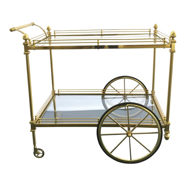 Vintage Hollywood Regency Bar Cart - Image 1 of 9