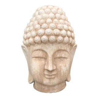 Large Ivory Majolica Buddha Head