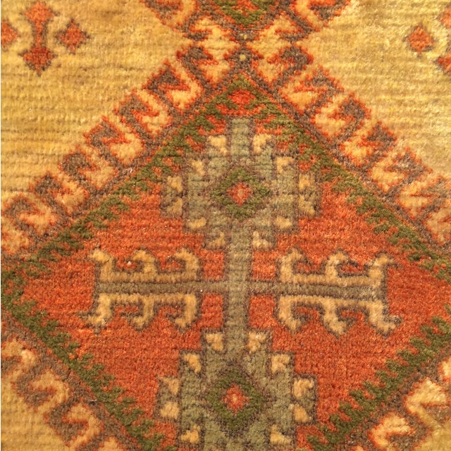 "Antique Turkaman Yellow Persian Rug - 2'1"" x 2'11"" - Image 6 of 6"