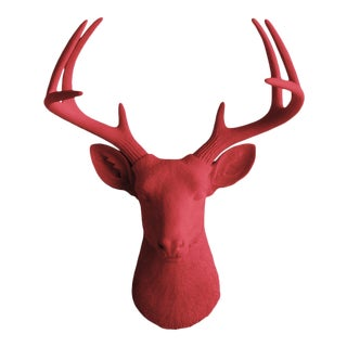 Cardinal Red Faux Mount Bust Deer Head by Wall Charmers