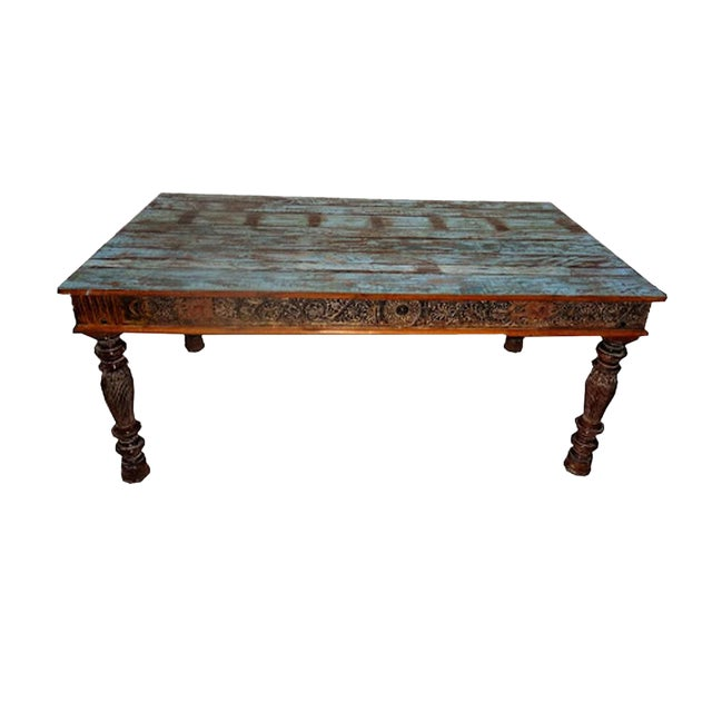 Indian Reclaimed Carved Wood Dining Table Chairish