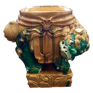 Vintage Chinese Foo Dog Glazed Garden Seat