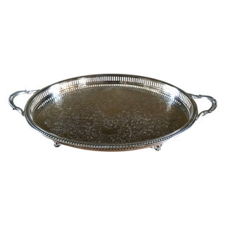 Large Oval Silverplate Serving Tray