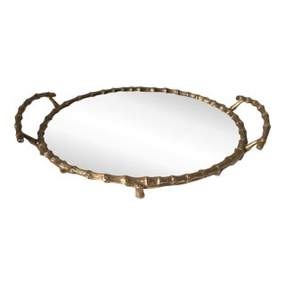 """Faux Bamboo Gilt Brass Mirrored Tray-14"""""""